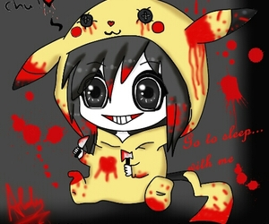 jeff the killer, pikachu, and blood image