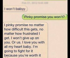 pinky promise, with all my heart, and text convo image