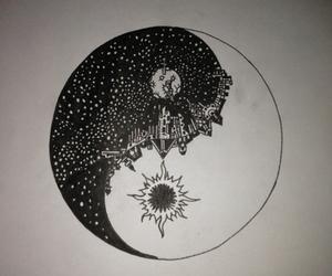 black and white, moon, and yang image