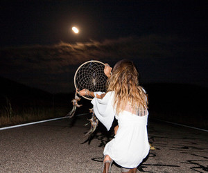 girl, night, and moon image