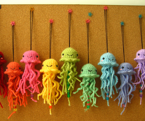 cute, jellyfish, and rainbow image