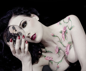 Dita von Teese and flowers image