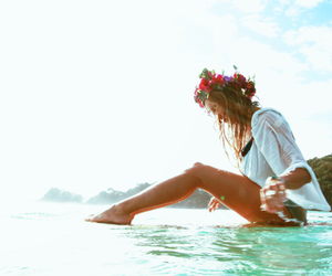 beach, flower, and style image