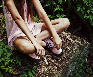 girl, pink, and nature image