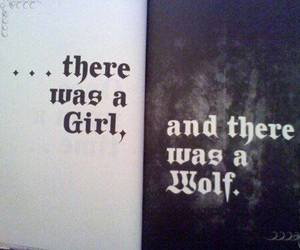 girl, words, and wolf image