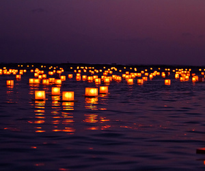 light, night, and sea image