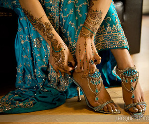 henna, shoes, and indian image