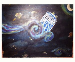 vangogh, painting, and tardis image