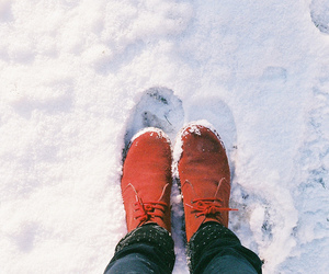 snow, shoes, and red image