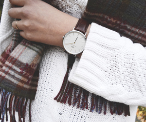 fashion, scarf, and clock image