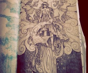 drawing, girl, and sketchbook image