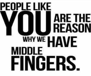 quote, middle finger, and people image