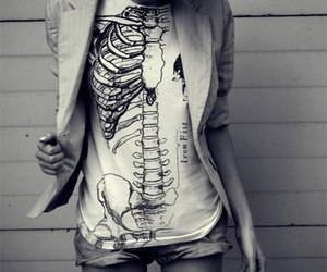 skeleton, black and white, and t-shirt image