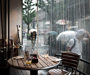 rain, cafe, and coffee image