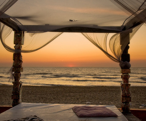 beach, bed, and sunset image