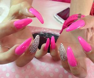 diamond, fashion, and pink nails image