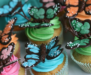 cupcake, butterfly, and food image