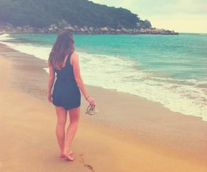 beach, brunette, and flip flops image