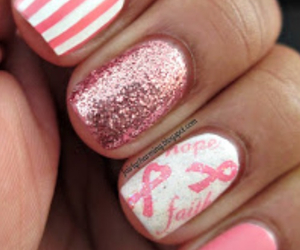 breast cancer, nails, and pink image