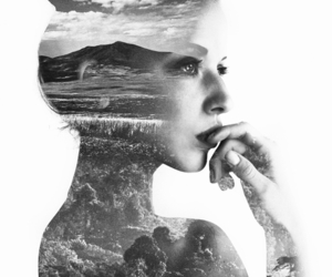 black and white, Collage, and girl image