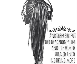 music, headphones, and quote image
