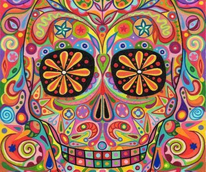 colorful, rainbow, and skull image