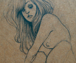 drawing, solitude, and girl image