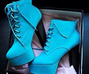 blue, heels, and girly image