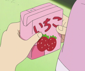 anime, pink, and strawberry image