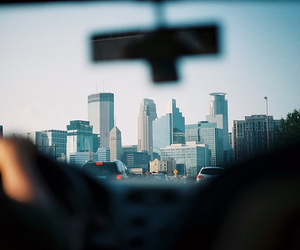 city, car, and building image