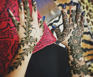 girl, hair, and henna image