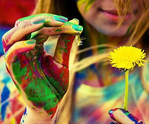 girl, flowers, and colors image