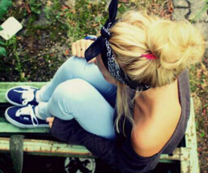 bandana, blonde, and fashion image