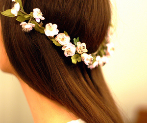 back, brunette, and flower crown image