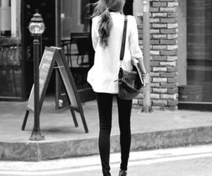 fashion, girl, and black and white image