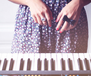 piano, dress, and rings image