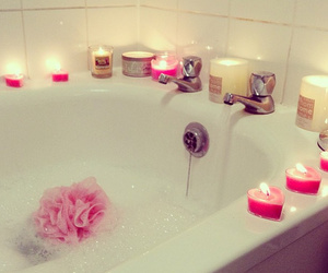 candle, bath, and pink image