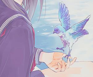 bird, anime, and girl image