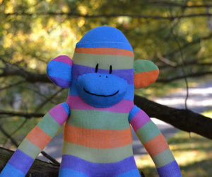 Sock Monkey, blue sock monkey, and sock monkey doll image