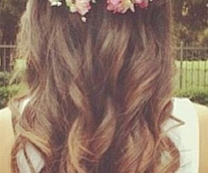 curly hair, flowers, and hair image
