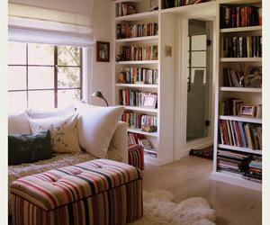 books, pillow, and hugewindow image