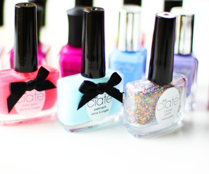 bow, girly, and nailpolish image