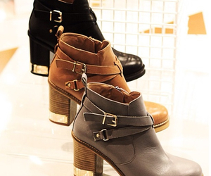 ankle boots, love, and black image