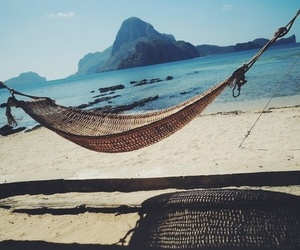 beach, hammock, and relaxation image