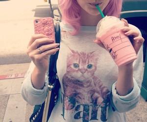 girl, pink, and starbucks image