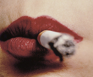 lips, cigarette, and red image
