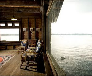 cabin, window, and chairs image