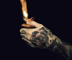 tattoo, fire, and hand image