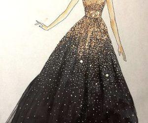 croquis, vestido, and preto e dourado image