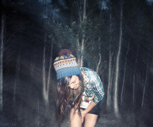 girl, forest, and night image